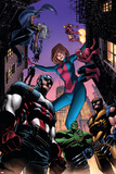 Marvel Adventures Avengers No.28 Cover: Captain America, Giant-Girl, Spider-Man and Wolverine Print by Kirk Leonard