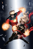 Ms. Marvel No.49 Cover: Ms. Marvel and Captain Marvel Poster by Sana Takeda