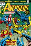 Avengers No.144 Cover: Hellcat, Captain America, Iron Man, Beast, Vision and Avengers Charging Posters by George Perez