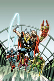 Giant-Size Marvel TPB Cover: Thor, Captain America, Iron Man, Vision and Scarlet Witch Charging Prints by Rich Buckler