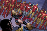 The Mighty Avengers No.4 Group: Ms. Marvel and Iron Man Prints by Frank Cho