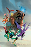 Lockjaw and The Pet Avengers No.1 Cover: Lockjaw, Lockheed, Throg, Redwing and Hairball Posters by Karl Kerschl