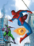 Spider-Man and Green Goblin Fighting in the City; Throwing Flaming Pumpkin Prints