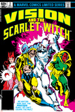 Vision And The Scarlet Witch No.2 Cover: Nuklo, Scarlet Witch, Whizzer and Vision Fighting Prints by Rick Leonardi