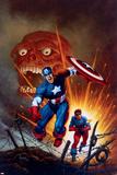 Captain America No.8 Cover: Captain America, Bucky and Red Skull Swimming Bilder av Joe Jusko