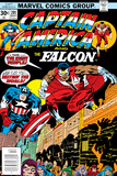 Captain America And The Falcon No.201 Cover: Captain America and Falcon Crouching Prints by Jack Kirby