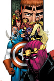 Avengers/Thunderbolts No.1 Cover: Baron Zemo, Captain America, Moonstone, Hawkeye, Wasp & Avengers Print by Barry Kitson