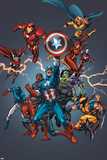 Tom Grummett - Official Handbook: Avengers 2005 Cover: Captain America, Hulkling and Cage Plakát