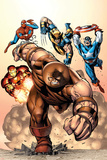 Marvel Two-In-One No.7 Cover: Juggernaut, Wolverine, Captain America, Spider-Man and Iron Man Photo by Sean Chen
