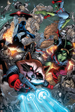 Guardians Of The Galaxy No.8 Group: Rocket Raccoon, Major Victory, Bug and Mantis Prints by Brad Walker