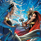 Black Panther No.25 Cover: Thor and Storm Print by Michael Turner