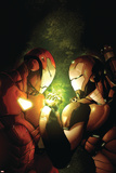 Avengers: The Initiative No.12 Cover: Iron Man and War Machine Fighting and Flying Prints