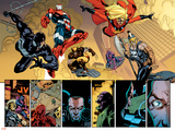 New Avengers No.56 Group: Spider-Man, Iron Patriot, Wolverine, Ms. Marvel, Ares and Hawkeye Prints by Stuart Immonen