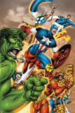 Onslaught Reborn No.5 Cover: Captain America, Hulk and Iron Man Print by Rob Liefeld