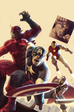 The Mighty Avengers No.12 Cover: Captain America, Giant Man, Iron Man and Thor Poster