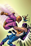 Marvel Adventures The Avengers No.35 Cover: Batroc The Leaper, Hawkeye and Spider-Man Print by David Williams