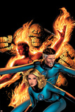 Marvel Knights 4 No.14 Cover: Mr. Fantastic, Invisible Woman, Human Torch, Thing and Fantastic Four Posters by Greg Land