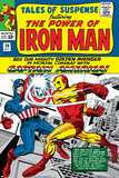 Don Heck - Tales Of Suspense No.58 Cover: Iron Man and Captain America Fighting Plakát