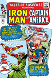 Tales Of Suspense No.61 Cover: Iron Man, Captain America, Sumo and Mandarin Fighting Billeder af Don Heck
