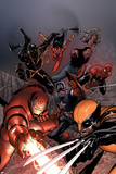 New Avengers No.16 Cover: Iron Man, Wolverine, Spider-Man, Captain America and Spider Woman Poster by Steve MCNiven