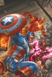Avengers V3 No.78 Cover: Captain America, Iron Man, Scarlet Witch and Avengers Poster by Scott Kolins