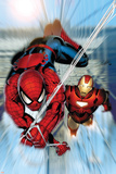 Invincible Iron Man No.7 Cover: Iron Man and Spider-Man Plakater af Salvador Larroca
