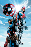 The Ultimates No.4 Cover: Captain America and Captain Britain Charging Poster by Bryan Hitch