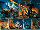 Secret War No.4 Group: Thing, Captain America, Mr. Fantastic, Invisible Woman and Fantasticar Prints