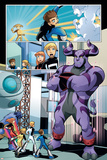 X-Men And Power Pack No.2 Group: Zero-G, Lightspeed, Mass Master, Energizer, Beast and Power Pack Posters by  Gurihiru