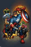 The Official Handbook Of The Marvel Universe: Avengers 2004 Cover: Captain America Posters av Salvador Larroca