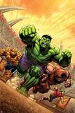 Marvel Adventures Hulk No.12 Cover: Hulk, Thing and Juggernaut Print by David Nakayama