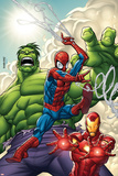 Roger Cruz - Marvel Adventures Super Heroes No.1 Cover: Spider-Man, Iron Man and Hulk - Poster