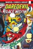 Daredevil No.102 Cover: Stiltman, Black Widow and Daredevil Poster by Syd Shores