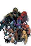 Marvel Pets Handbook Cover: Lockjaw, Lockheed, Devil Dinosaur, Zabu and Old Lace Print by Karl Kerschl