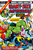 Giant-Size Defenders No.4 Cover: Hulk, Dr. Strange, Hyperion, Dr. Spectrum and Nighthawk Fighting Póster por Don Heck