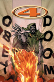 Marvel Knights 4 No.17 Cover: Dr. Doom and Human Torch Flying Photo by Jim Muniz