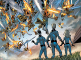 Fantastic Four No.510 Group: Mr. Fantastic, Storm, Sue, Storm, Johnny and Heavens Warriors Prints by Mike Wieringo