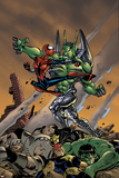 Spider-Girl No.86 Cover: Spider-Girl, Apox, J2, Hulk and Nova Fighting Print by Ron Frenz