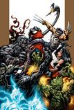 Ultimate Spider-Man No.71 Cover: Spider-Man, Wolverine, Green Goblin and Hulk Posters af Mark Bagley