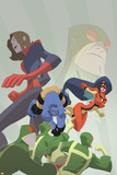Marvel Adventures Super Heroes No.16 Cover: Beast, Spider Woman and Giant Girl Print by Sean Galloway
