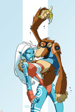 New Warriors No.2 Cover: Namorita and Speedball Flying Posters by Skottie Young