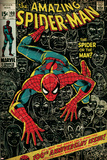 Marvel Comics Retro: The Amazing Spider-Man Comic Book Cover No.100, 100th Anniversary Issue (aged) Posters