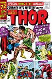 Journey Into Mystery: Thor No.1 Cover: Thor and Hercules Fighting Photo by Jack Kirby