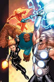 Ultimate Secret No.4 Cover: Thor, Thing, Human Torch and Black Widow Posters by Steve MCNiven