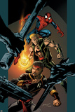 Ultimate Spider-Man No.85 Cover: Spider-Man, Shang-Chi and Iron Fist Poster by Mark Bagley