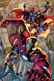 Avengers No.12.1: Iron Man, Ms. Marvel, Protector, and Thor Affiches par Bryan Hitch