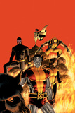 Astonishing X-Men No.13 Cover: Cyclops, Wolverine, Colossus and Shadowcat Plakater af John Cassaday