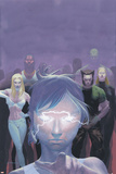 House Of M No.5 Cover: Miller, Layla, Wolverine and Emma Frost Flying Print by Esad Ribic