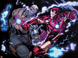 Avengers: X-Sanction No.2: Cable and Iron Man Fighting Photo by Ed McGuinness