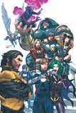 Uncanny X-Men No.437 Cover: Wolverine, Havok, Juggernaut, Nightcrawler, Angel, Northstar and X-Men Affischer av Salvador Larroca